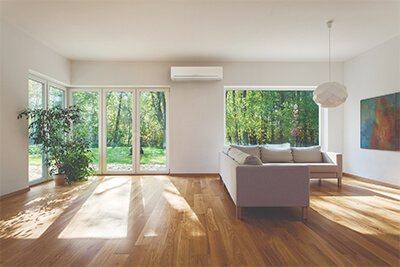 A heat pump installed in on modern lounge