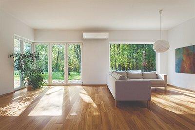 A heat pump installed in on modern lounge