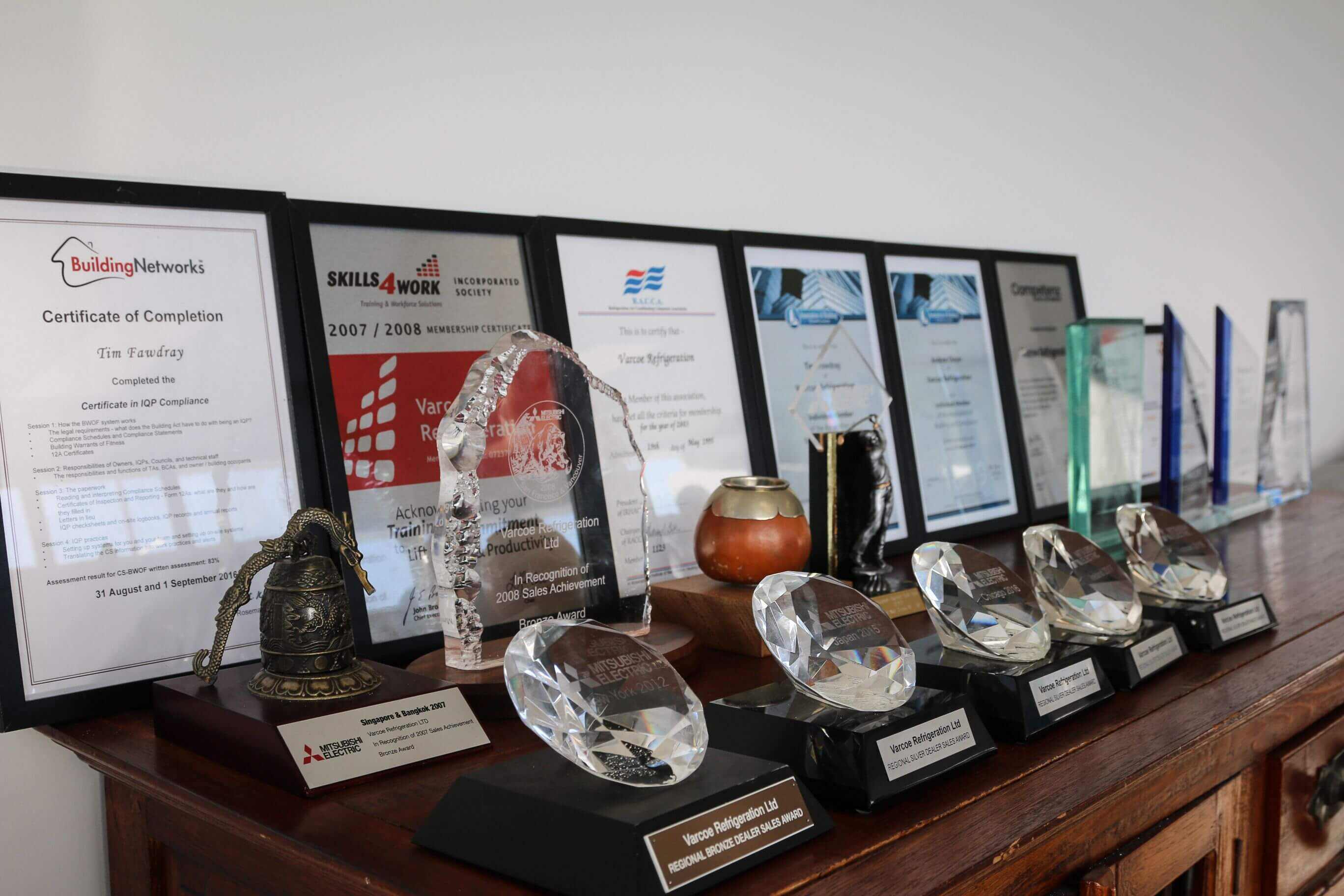 A display of all the awards Varcoe has won