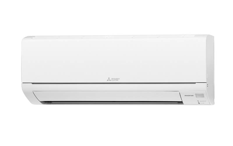 A white Mitsubishi Electric heat pump with the company logo in the center of the unit